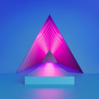 三角形のトンネル内の抽象的な青とピンクのネオンの3 dレンダリング