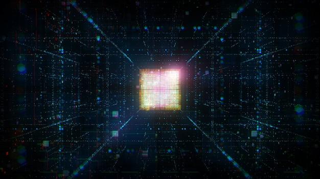 抽象中央処理装置の3dレンダリング。人工知能の脳の概念。