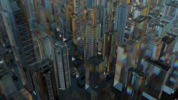 ガラス製の抽象的な都市の3dレンダリング。屈折性、反射性の透明な素材。広角カメラ