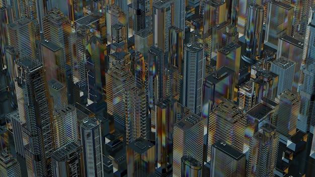 ガラス製の抽象的な都市の3dレンダリング。屈折性、反射性の透明な素材。