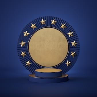 3d визуализация абстрактного цилиндра подиума с золотыми звездами
