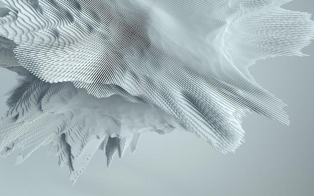 抽象的で詳細な形状の3dレンダリング。ダイナミックで未来的な背景。