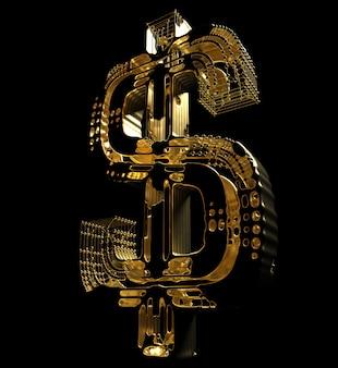 검은 배경에 황금 액체 황금 와이어 원자 구조에 추상 달러 기호의 3d 렌더링