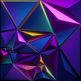 3d визуализация абстрактного граненого фона с радужной синей фиолетовой розовой металлической текстурой