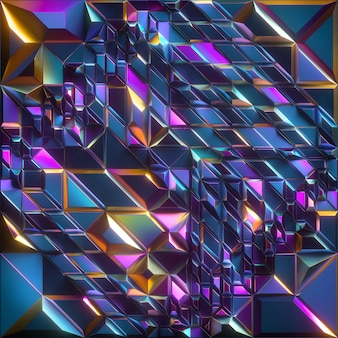 3d визуализация абстрактного граненого фона с переливающейся синей желтой розовой металлической текстурой