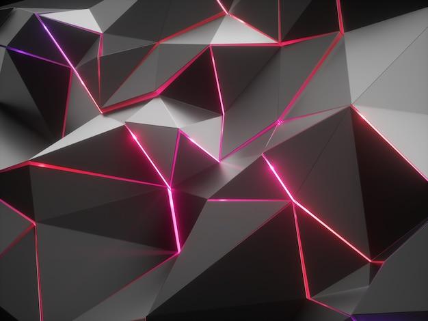 赤いネオンの光で抽象的なファセットクリスタルの背景の3dレンダリング