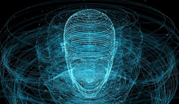線で作られた抽象的な図の3dレンダリング。複雑な技術の背景。たくさんの要素に囲まれた人間の頭。