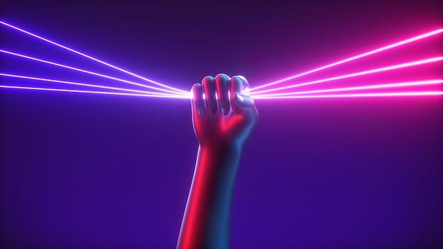 추상 미래 개념 인공 손의 3d 렌더링은 울트라 바이올렛 네온 빛나는 선을 보유합니다.