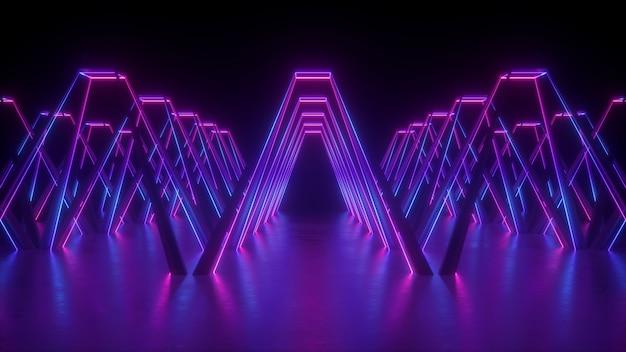 3d визуализация абстрактного футуристического неона со светящимися фиолетовыми линиями