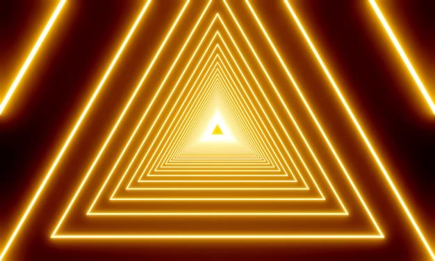 抽象的なゴールドネオン三角形の3 dレンダリング