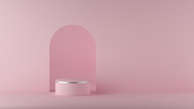 3d визуализация абстрактного минимального фона. пустой цилиндр подиума.