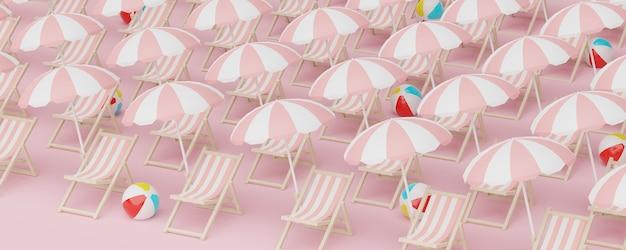 ウェブバナーのパステル背景に抽象的な最小限のビーチベンチパターンの3dレンダリングまたは休暇の概念の夏の時間シーズンをモックアップ
