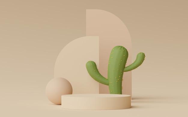 製品の化粧品のプレゼンテーションを表示するための抽象的な最小限のディスプレイ表彰台の3dレンダリング