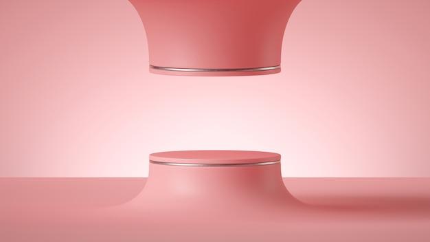 빈 실린더 연단 또는 라운드 무대와 추상 최소한의 미래의 분홍색 배경의 3d 렌더링.