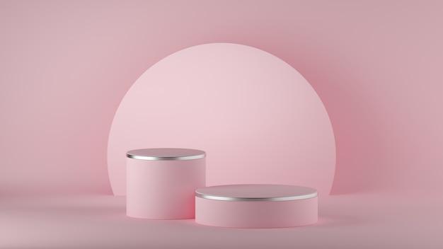 3d визуализация абстрактного современного минимального розового фона. пустой подиум моды.