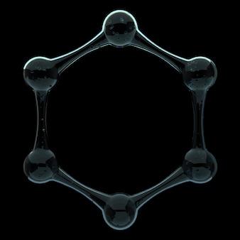액체 물질로 만들어진 추상 분자 구조의 3d 렌더링. 반사와 굴절이 있는 유리 소재.