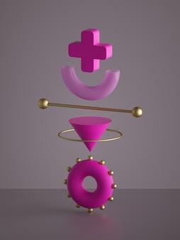 分離された抽象的なモノクロピンクの幾何学的形状の3dレンダリング