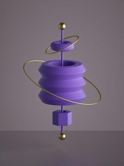 3d визуализация абстрактных монохромных фиолетовых геометрических фигур изолированы
