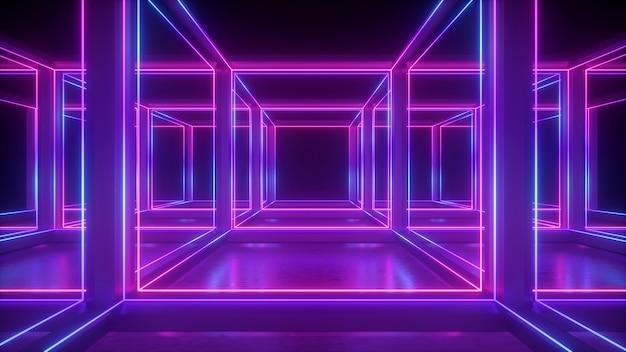 기하학적 추상 네온의 3d 렌더링