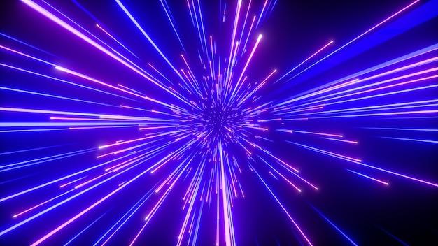 반짝이는 푸른 불꽃 놀이와 추상 네온의 3d 렌더링