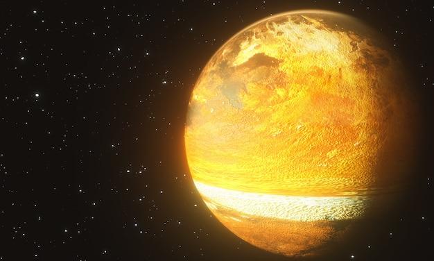 黒の背景に爆発の過程で抽象的な古い惑星の3dレンダリング