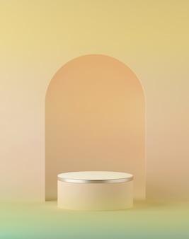3d визуализация абстрактного персиково-желтого пастельного пасхального фона с пустым цилиндрическим подиумом