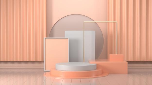 추상 핑크 색상 기하학적 모양, 연단 디스플레이 또는 쇼케이스를위한 현대 미니멀리스트 모형의 3d 렌더링