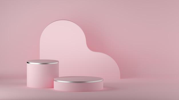 3d визуализация абстрактного розового минимального фона. пустой цилиндр подиума.