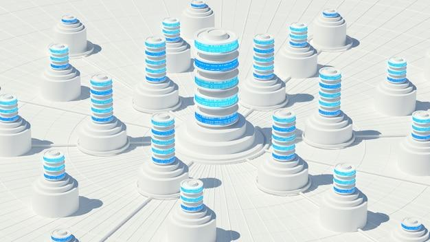 추상 스토리지 개념의 3d 렌더링입니다. 서버 또는 데이터 중앙 집중화 처리.