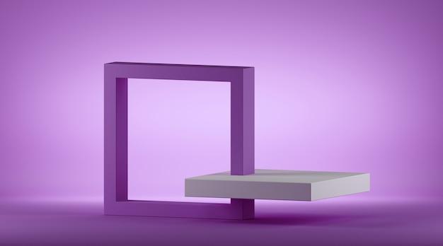 복사 공간 사각형 아이소 메트릭 프레임 wtih 추상 보라색 기하학적 배경의 3d 렌더링.