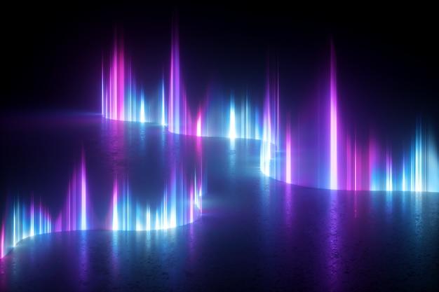 3d визуализация абстрактных обоев с синим розовым фиолетовым неоновым светом.