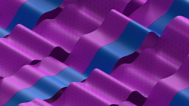 テクスチャ付きの抽象的な波の3dレンダリング。ミニマルなスタイル。柔らかな照明。