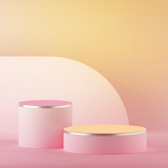 빈 실린더 연단과 추상 노란색 분홍색 파스텔 부활절 배경의 3d 렌더링