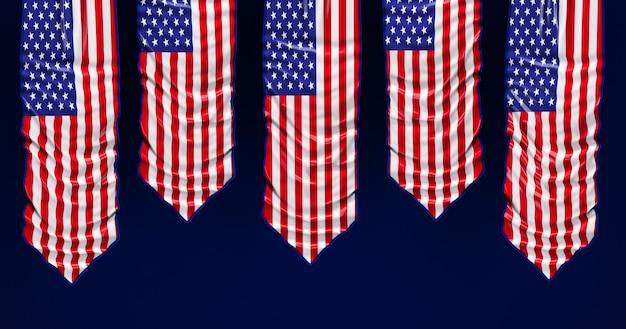 3d визуализация американского флага на день памяти, 4 июля, день независимости.