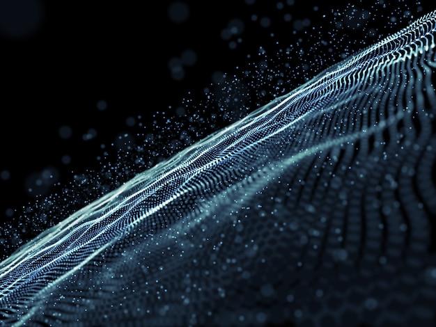 3d визуализация абстрактного фона с дизайном цифровых кибер-частиц