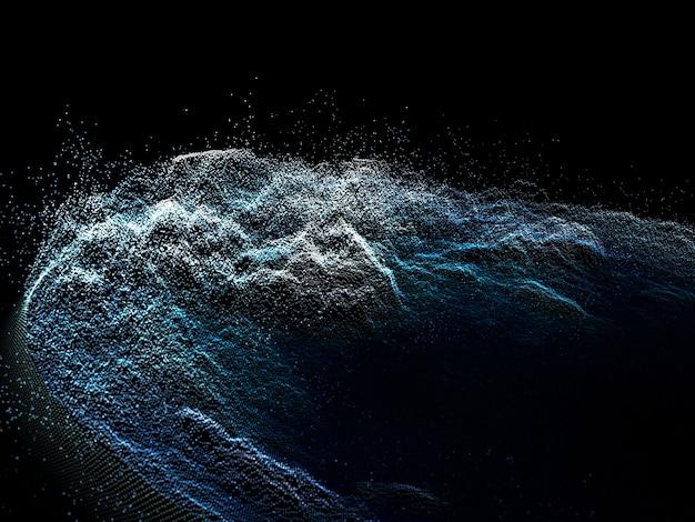 3d визуализация абстрактного фона с дизайном кибер-частиц