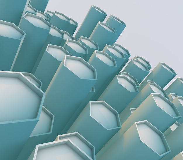 비스듬한 육각형 돌출과 추상적 인 배경의 3d 렌더링