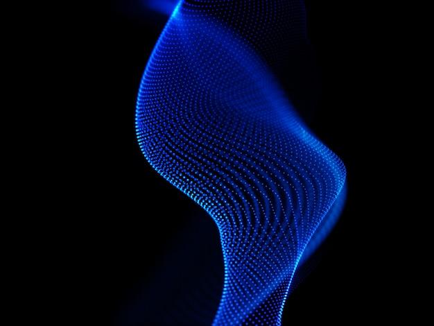 流れるサイバー粒子と抽象的な背景の3dレンダリング