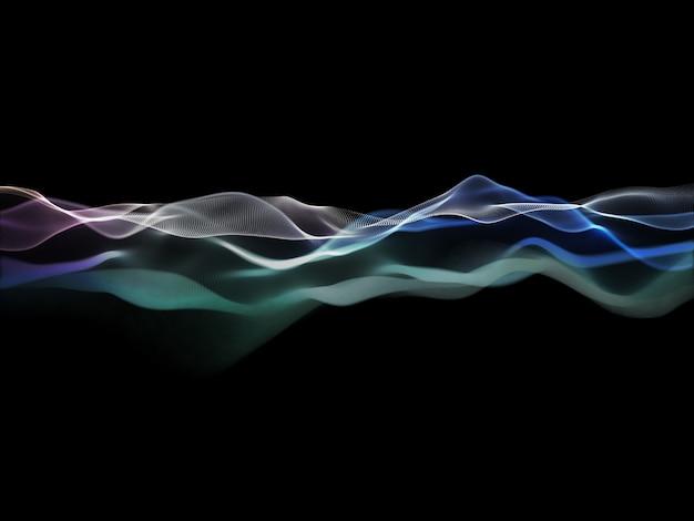 흐르는 입자 디자인과 추상적 인 배경의 3d 렌더링