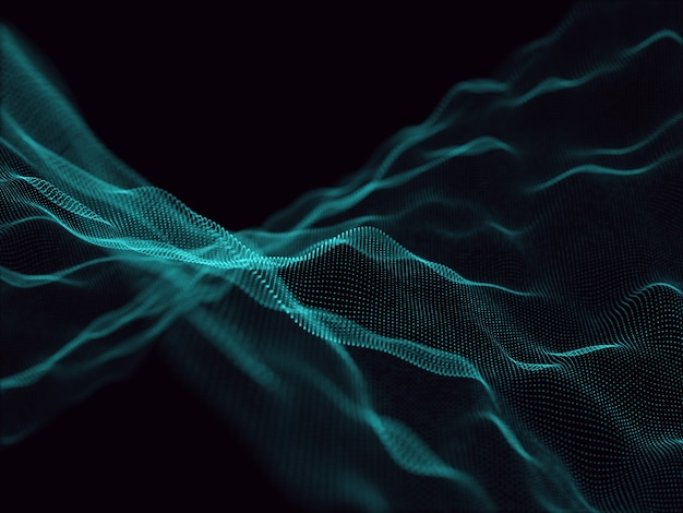 흐르는 입자와 추상적 인 배경의 3d 렌더링