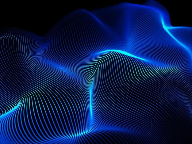 流れる波と抽象的な背景の3dレンダリング