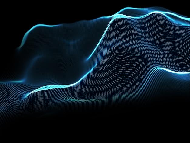光る粒子を持つ抽象的な背景の 3 d レンダリング