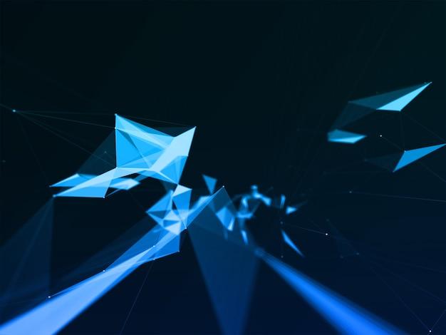 낮은 폴리 기술 디자인으로 추상적 인 배경의 3d 렌더링