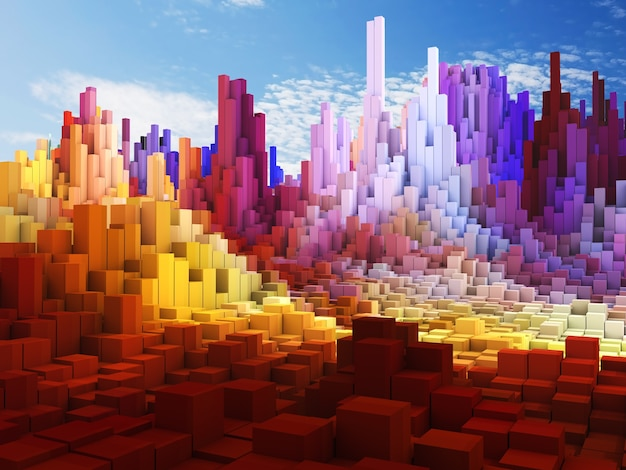 푸른 하늘 배경에 추상 큐브 풍경의 3d 렌더링