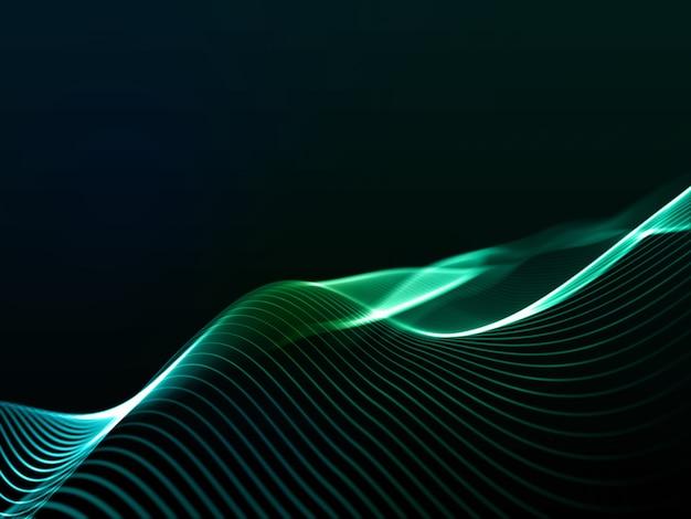 サイバー ラインが流れる抽象的なデジタル背景の 3 d レンダリング
