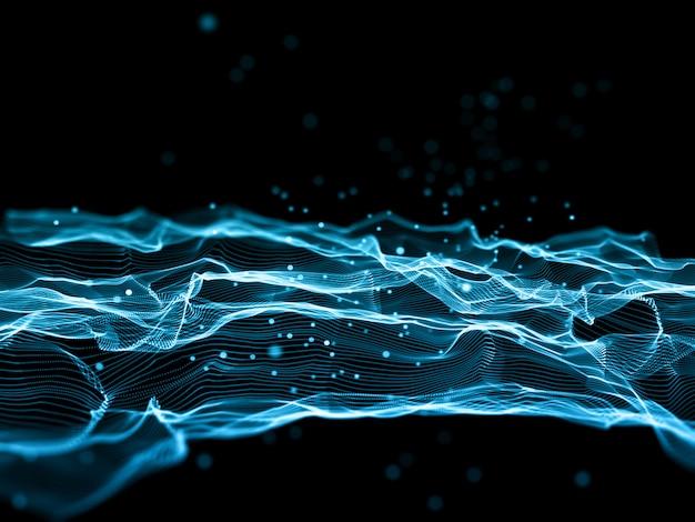3d визуализация абстрактного современного фона с плавными линиями и кибер точками