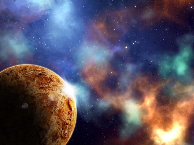 惑星と星雲のある抽象的な宇宙シーンの3dレンダリング