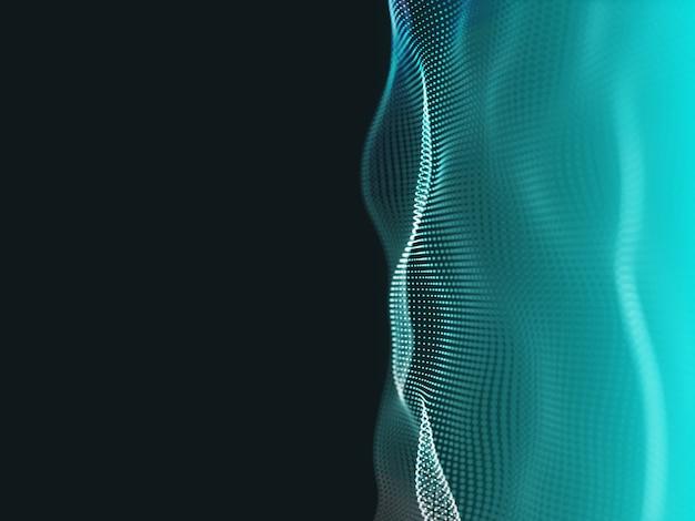 粒子が流れる抽象的なテクノの3dレンダリング
