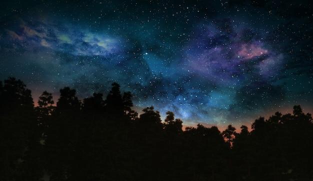 宇宙空と抽象的な木の風景の3dレンダリング