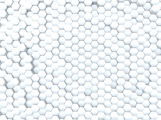 押し出し六角形の抽象的な壁の3dレンダリング